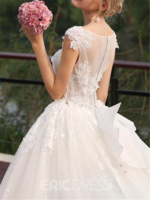 Ericdress V Neck Ball Gown Chapel Tulle Wedding Dress