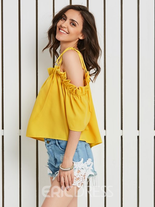 Ericdress Plain Backless Off Shoulder Half Sleeve Short Blouse
