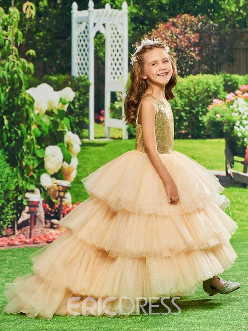 Ericdress Ball Gown Asymmetry Sequins Flower Girl Party Dress