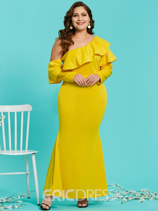 Ericdress Plus Size Ruffle Oblique Collar Long Sleeve Maxi Dress