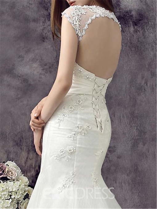 Charming Mermaid Straps Backless Court Wedding Dress