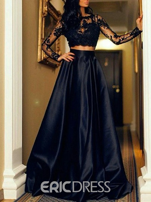Ericdress A Line Two Pieces Long Sleeve Lace Prom Dress
