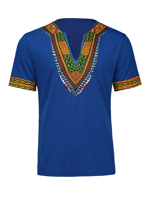 Ericdress African Fashion V-Neck Dashiki Print Short Sleeve Men's T-Shirt