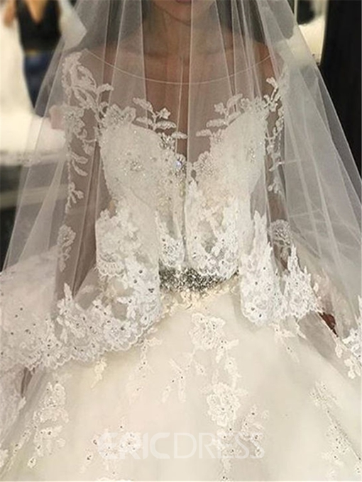 Ericdress Long Sleeves Appliques Beading Ball Gown Wedding Dress