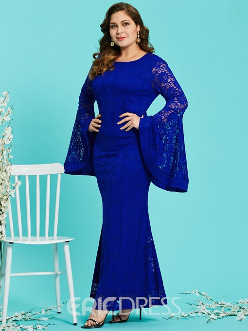 Ericdress Plus Size Mermaid Hollow Lace Flare Sleeve Bodycon Dress