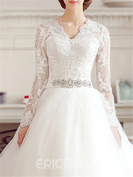 Classy V-Neck Appliques Wedding Dress With Sleeves