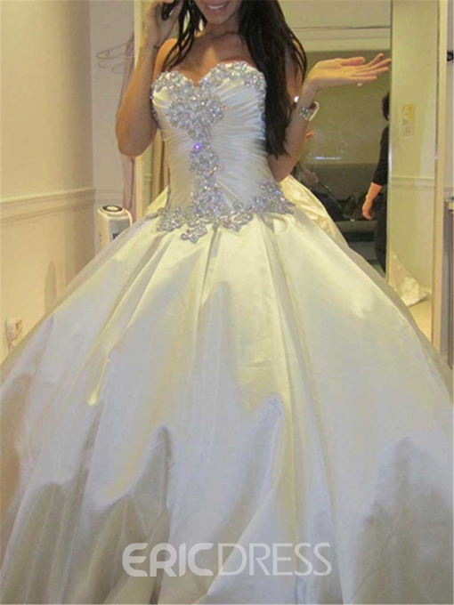 Ericdress Sweetheart Rhinestone Cathedral Wedding Dress