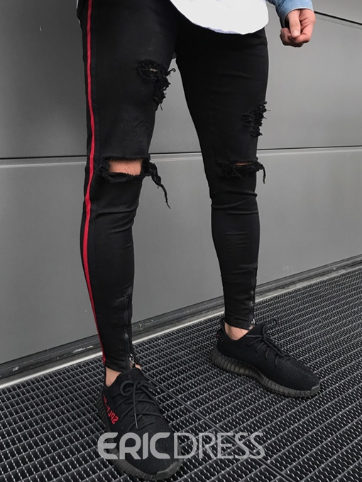 Ericdress Ripped Side Stripe Skinny Mens Pencil Pants