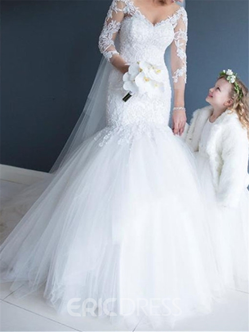 Ericdress Mermaid Appliques 3/4 Length Sleeves Wedding Dress