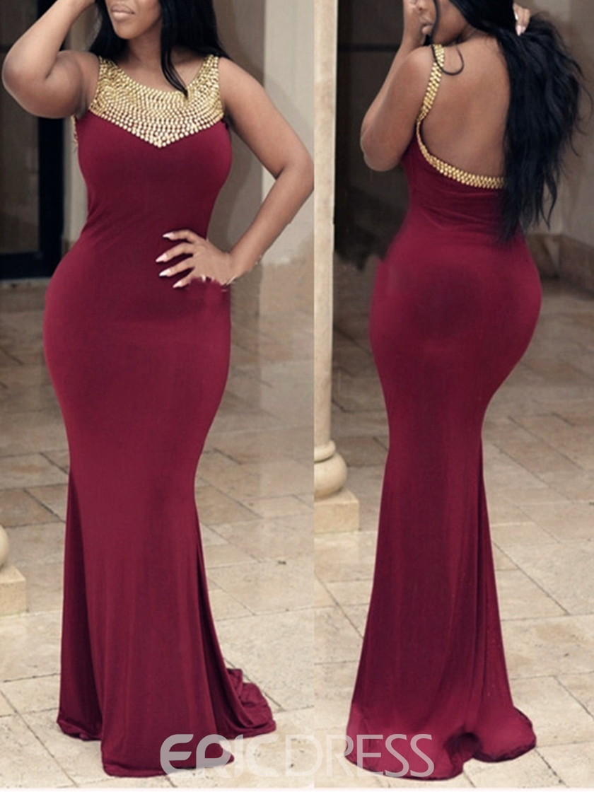 Ericdress Jewel Neck Beaded Backless Mermaid Evening Dress