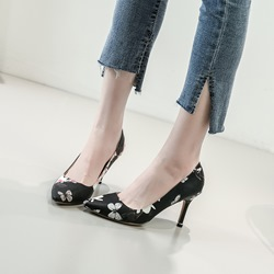 Ericdress Floral Slip-On Pointed Toe Stiletto Heel Pumps