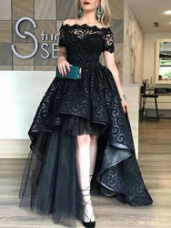 Ericdress Short Sleeves High Low Black Lace Evening Dress thumbnail