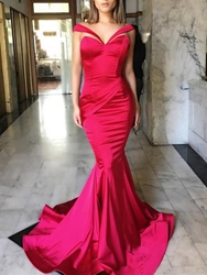 Image of Ericdress Mermaid Off-the-Shoulder Pleats Court Train Evening Dress