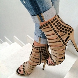 Ericdress Rivet Open Toe High-Cut Stiletto Sandals