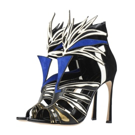 Ericdress Chic Color Block Zipper Patchwork Stiletto Sandals