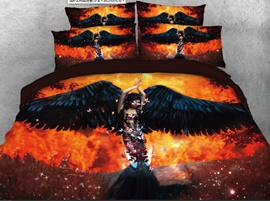 Vivilinen 3D Beauty with Black Wings Printed 4-Piece Bedding Sets/Duvet Covers