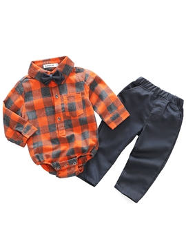 Ericdress Plaid Bowknot Romper & Pants Baby Boys' Outfit