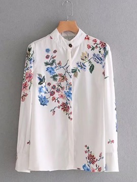 Ericdress Single-Breasted Floral Embroidery Shirt