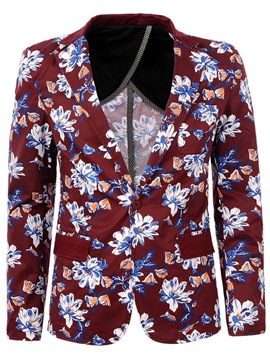 Ericdress One-Button Floral Print Slim Fit Jacket Coat Men's Blazer