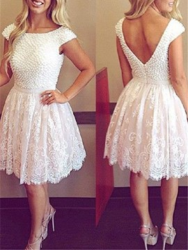 Ericdress Bateau Neck Beading Lace Cocktail Dress