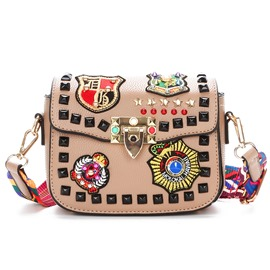 Ericdress Rivet Badge Decoration Mini Crossbody Bag