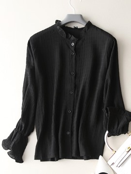 Ericdress Stringy Selvedge Beading Long Sleeve Blouse