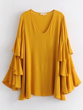 Ericdress Plain V-Neck Ruffles T-shirt