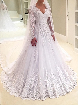 Ericdress A Line Long Sleeves Lace Wedding Dress