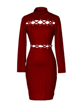 Ericdress High Neck Lace-Up Women's Bodycon Dress