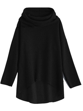 ericdress haufen kragen fleece mittellange sweatshirt