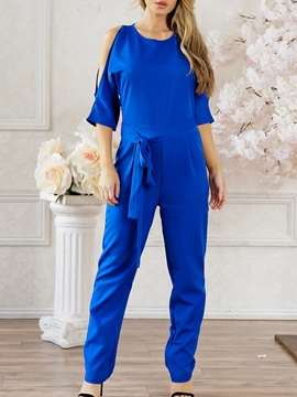 Ericdress Slim Lace-Up Women's Jumpsuit