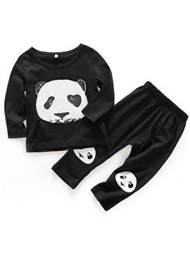 Ericdress Panda Print Cotton Unisex Baby Boys' Outfit