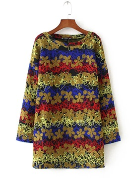Ericdress Floral Embroidery Mid-Length Sweatshirt