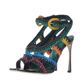 Ericdress Ankle Strap Color Block Open Toe Stiletto Sandals
