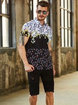 Ericdress Lapel Floral Print Slim Fit Men's T Shrit