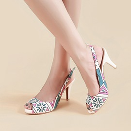 Ericdress Geometric Peep Toe Slingback Strap Stiletto Sandals