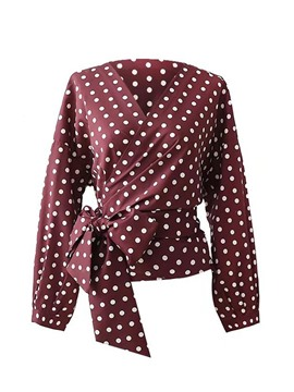 Ericdress Polka Dots Lace-Up Long Sleeve Womens Top
