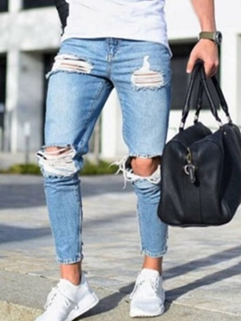 Ericdress Pleated Plain Pencil Pants Mid Waist Zipper Jeans