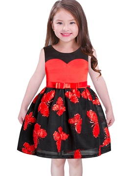 Ericdress Butterfly Embroidery Bowknot Ball Gown Girls' Dress