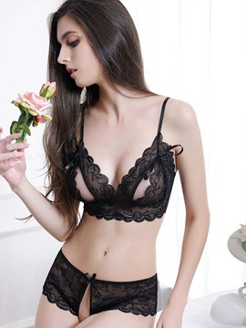 Ericdress Cut-Out Black Strappy Lace Bra Set