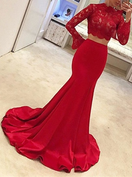 Ericdress Two Pieces Long Sleeve Lace Red Mermaid Evening Dress