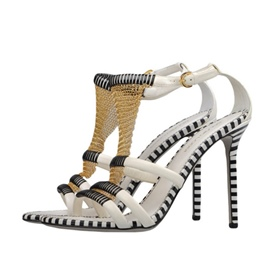 Ericdress T-Shaped Buckle Open Toe Color Block Stiletto Sandals