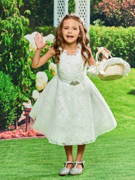 Ericdress Lace A Line Tea Length Flower Girl Dress