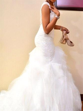 Ericdress Luxury Beading Mermaid Sweetheart Wedding Dress with Ruffles