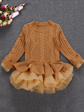 Ericdress Plain Knitting Mesh Patchwork Girl's Layered Dress
