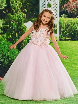 Ericdress Ball Gown Appliques Tulle Flower Girl Dress