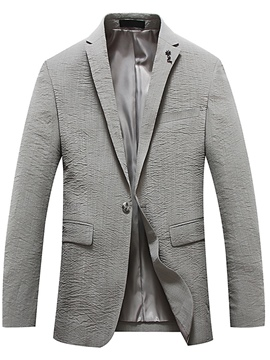 Ericdress Plain Notched Lapel One Button Slim Fit Men's Jacket Coat