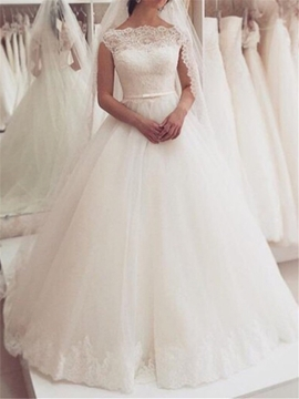 Ericdress Cap Sleeve Button Lace Wedding Dress