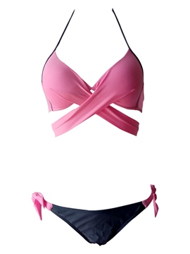 Ericdress Plain Bowknot Lace up Plus Size Bikini Set
