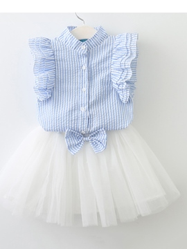 Ericdress Stripe Shirt Bowknot Mesh Skirt Girls' Outfit
